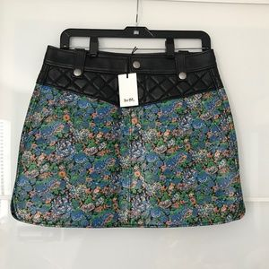 Coach Leather Floral Curved Hem Skirt